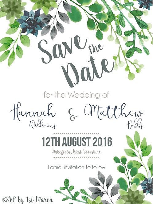 Succulent and Greenery | Save The Date | Wedding Invitation