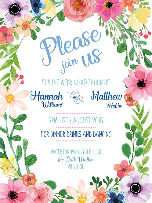 Floral Border | Evening Reception | Wedding Invitation