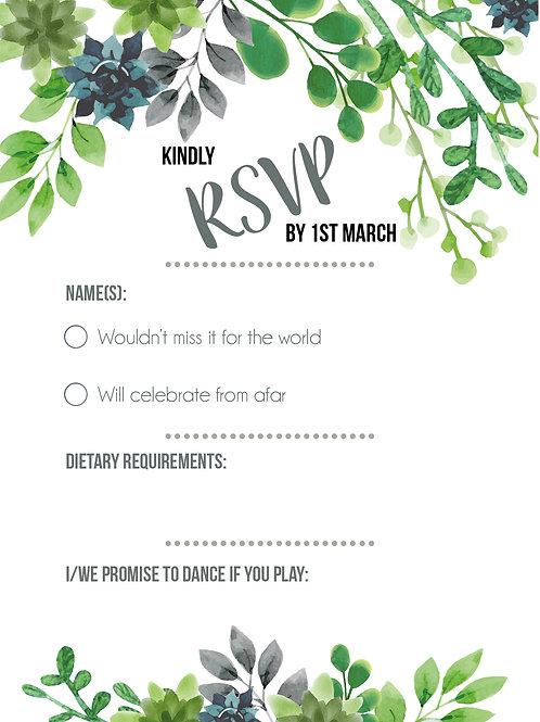 Succulent and Greenery | RSVP | Wedding Invitation