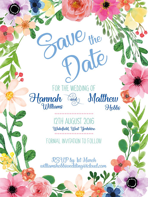 Floral Border | Save The Date | Wedding Invitation
