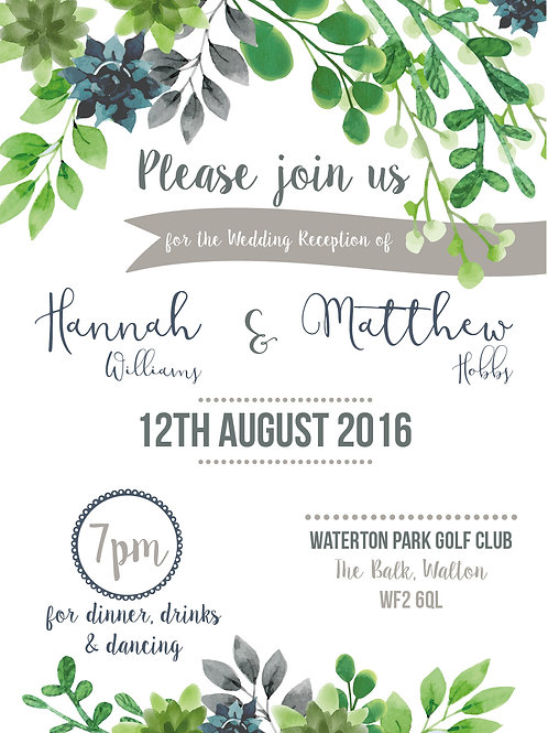 Succulent and Greenery | Evening Reception | Wedding Invitation