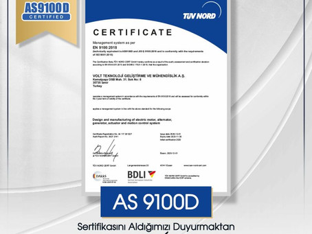 Volt Defense received AS9100 Certificate