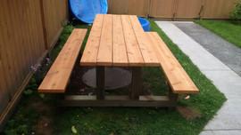cedar top and seat pressure treated legs