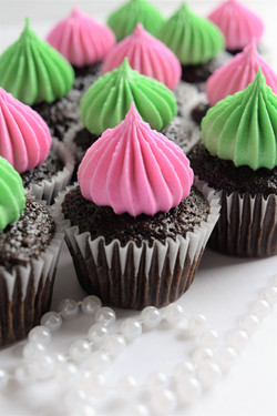 Pink and Green Mini Cupcakes