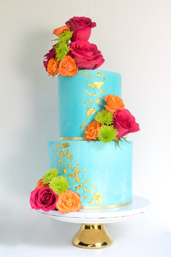 Colorful Floral Themed Birthday Cake