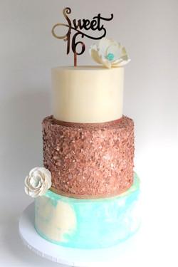 Sweet Sixteen Themed Birthday Cake