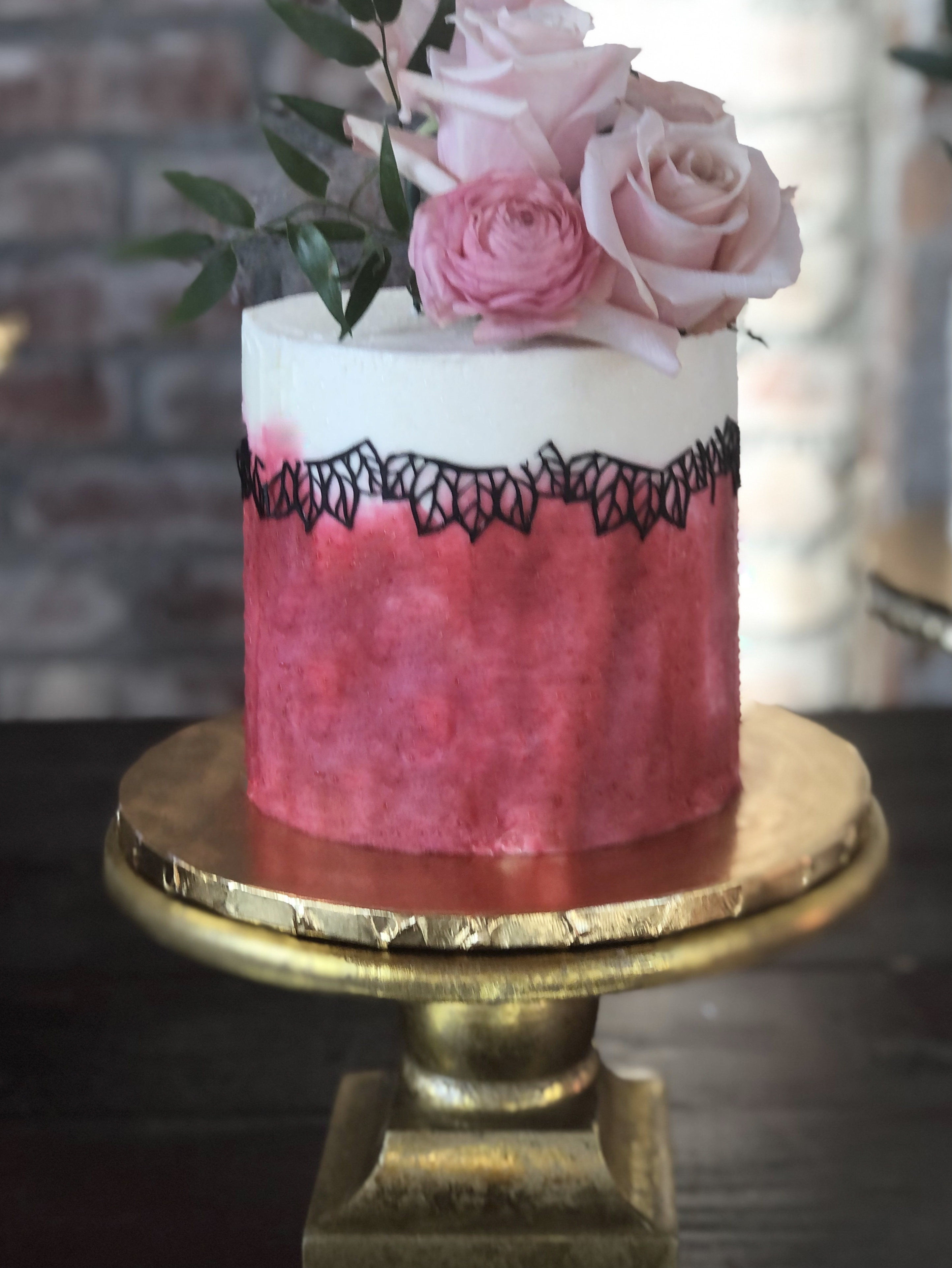 Watercolor & Lace Wedding Cake