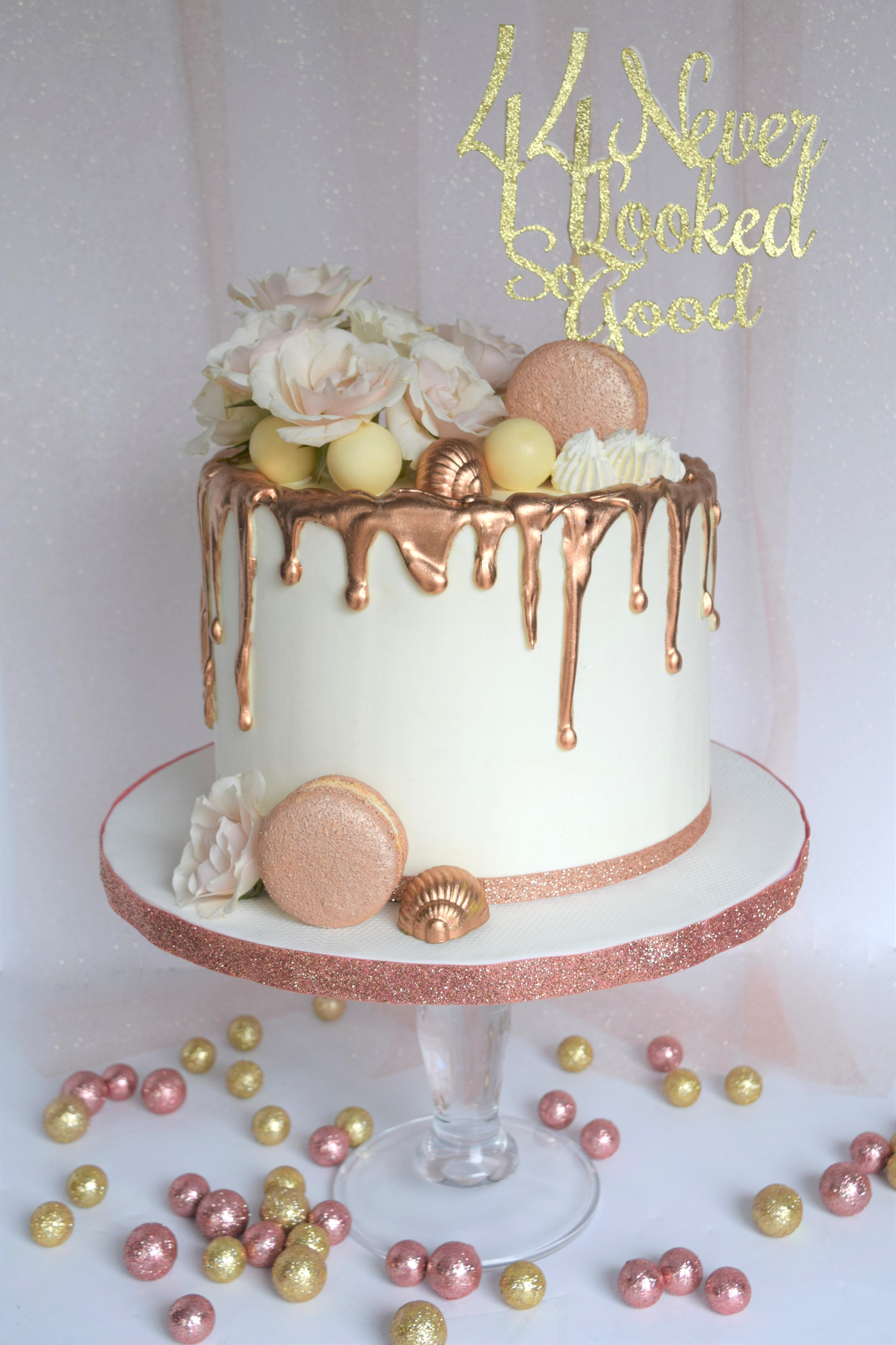 Rose Gold Themed Birthday Cake
