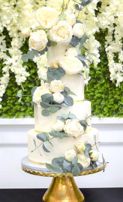 White Roses & Euclalyptus Themed Wedding Cake