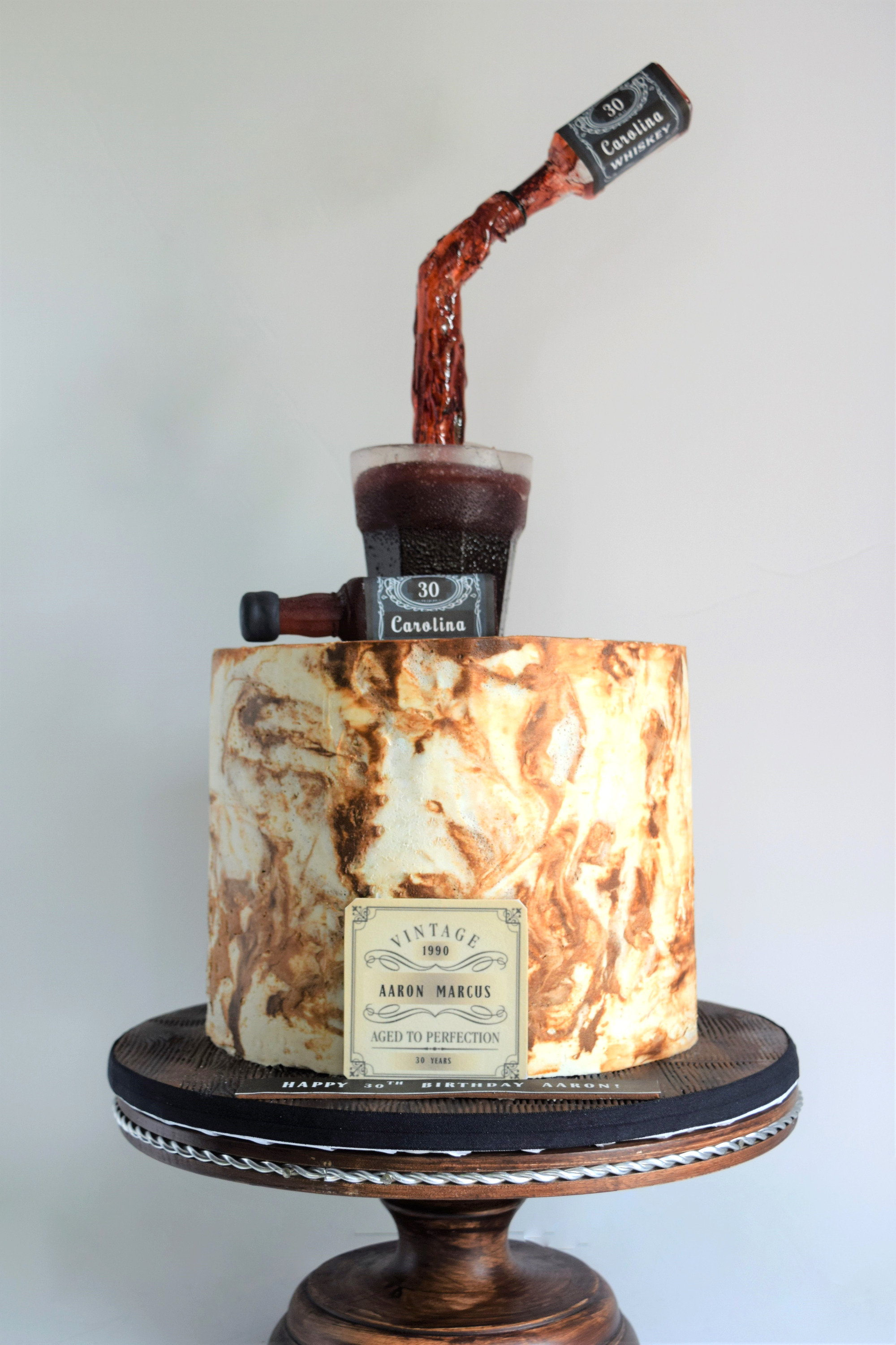 Whiskey Themed Birthday Cake