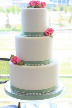Pink and Green Themed Wedding Cake
