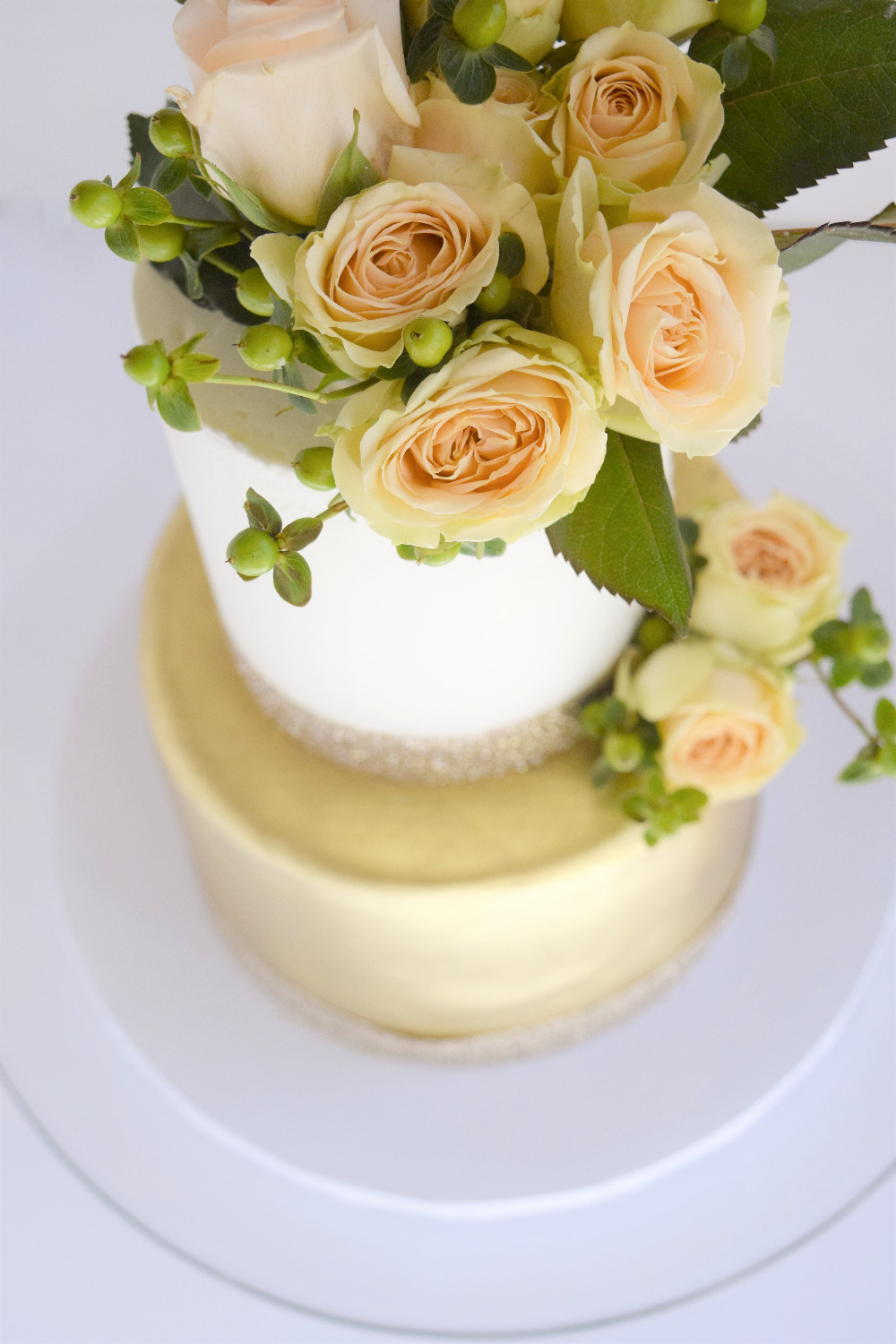 Gold and White Floral Themed Cake