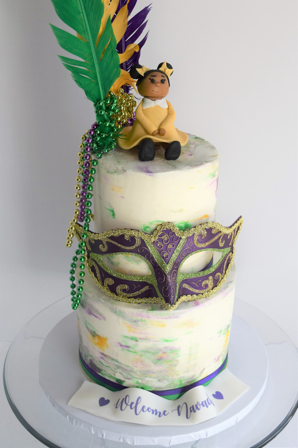 Mardi Gras Themed Baby Shower Cake