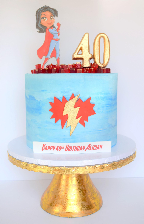 Super Mom Themed Birthday Cake