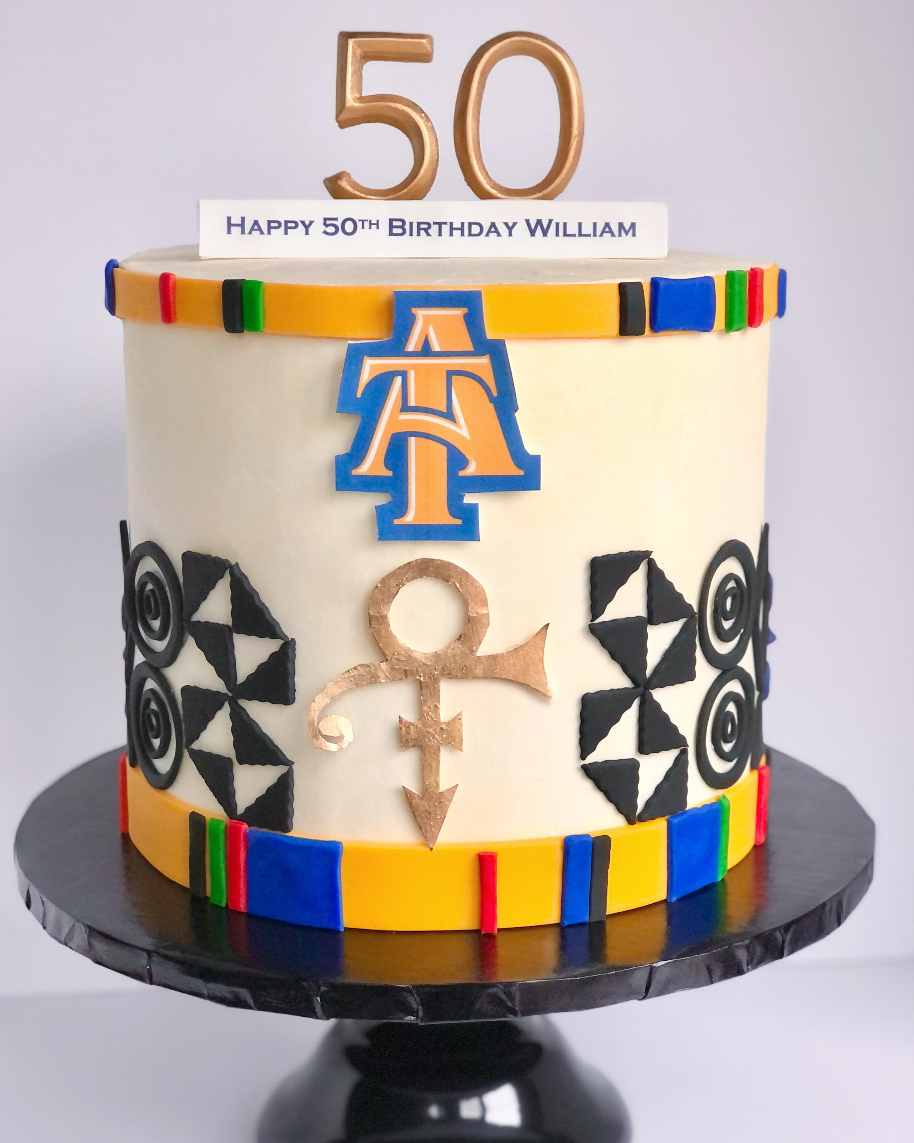 Kente Cloth Themed 50th Birthday Cake