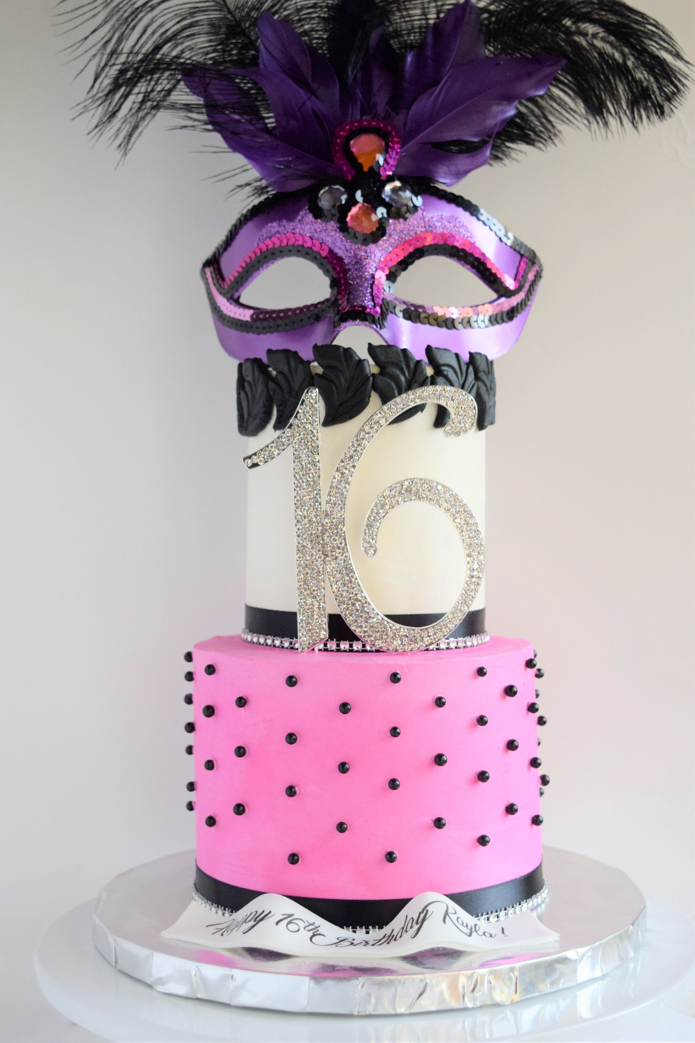 Masquerade Themed Sweet 16 Cake