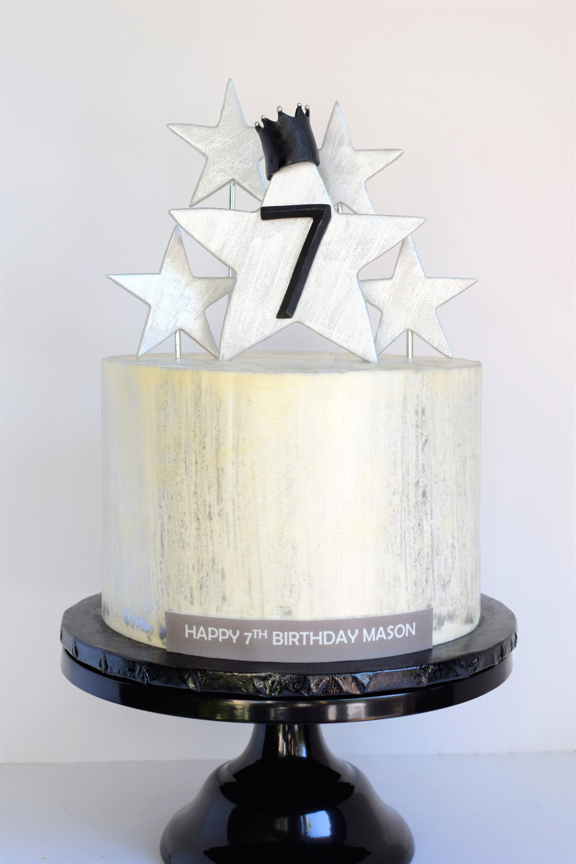 Silver Star Themed Birthday Cake