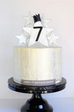 Silver Star Themed Birthday Cake