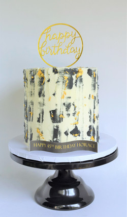 Black and Gold Themed Birthday Cake