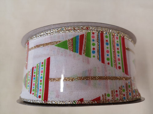 Christmas tree wired ribbon - price per metre