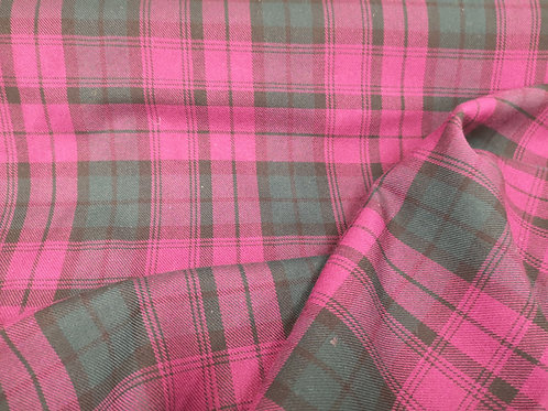 Cerise tartan patterned fabric.