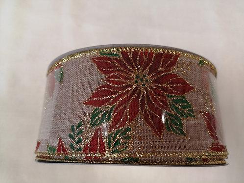 Poinsettia wire edged Christmas ribbon - 6.3cm - price per meyre