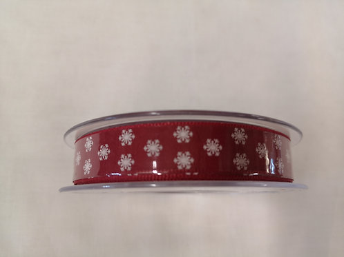 Red with white snowflakes - 1.5cm - price per metre