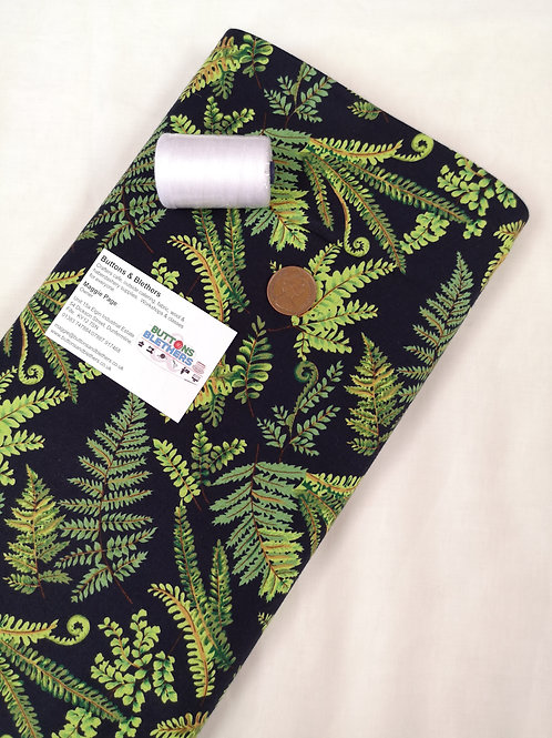 Black backed fern cotton - price per metre