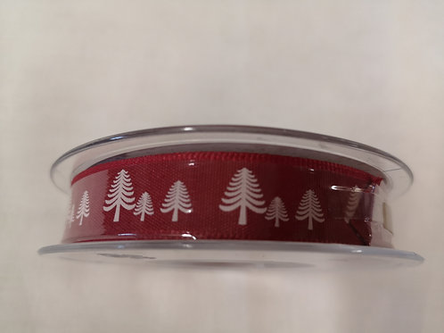 Red with white Christmas trees - 1.5 cm - price per metre