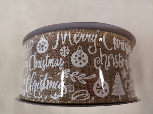 Merry Christmas wired ribbon - price per metre