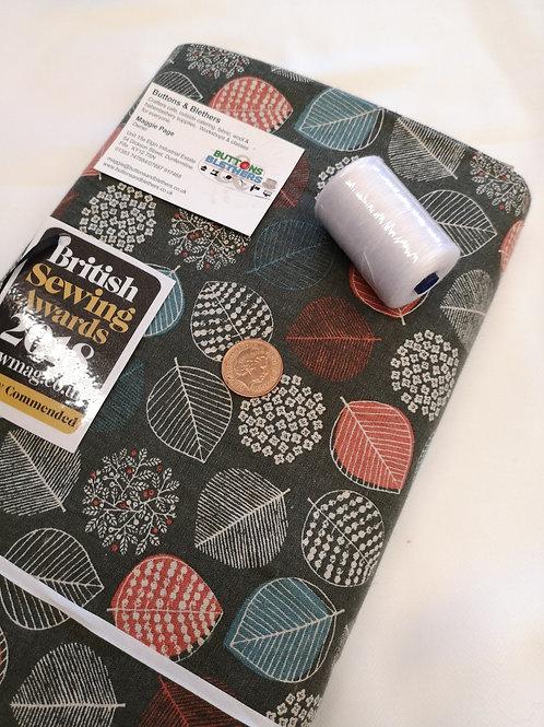 Goki double sided fabric. 55 % linen, 45 cotton