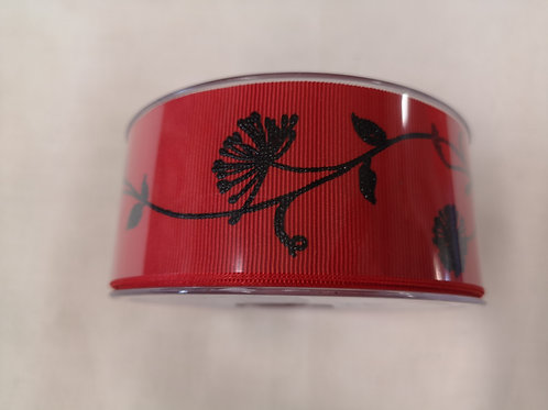 Red and black ribbon - 4cm - price per metre