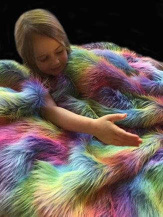 Girl with Rainbow Wave Faux Fur Weighted Blanket BG - Happy Senses.jpg