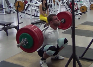 Klokov hitting a 245 kilo (529#) squat at full depth.