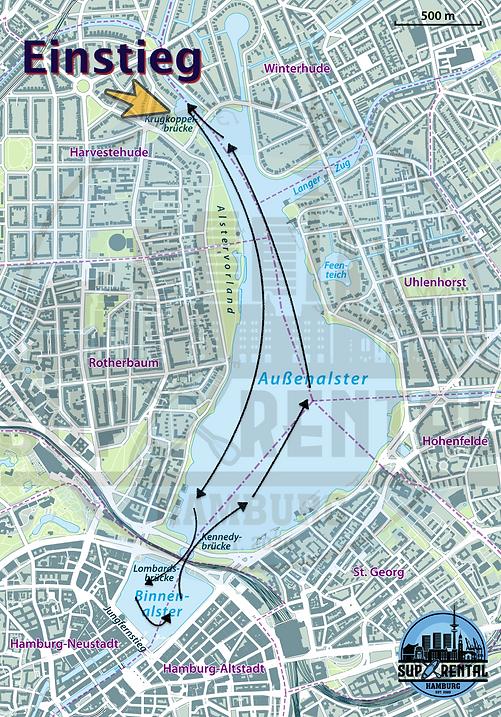 SUP Rental Hamburg Karte Außen und Binnenalster