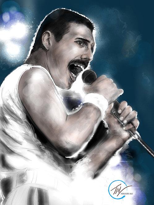 Freddie Mercury - Colour -- A3 ART PRINT