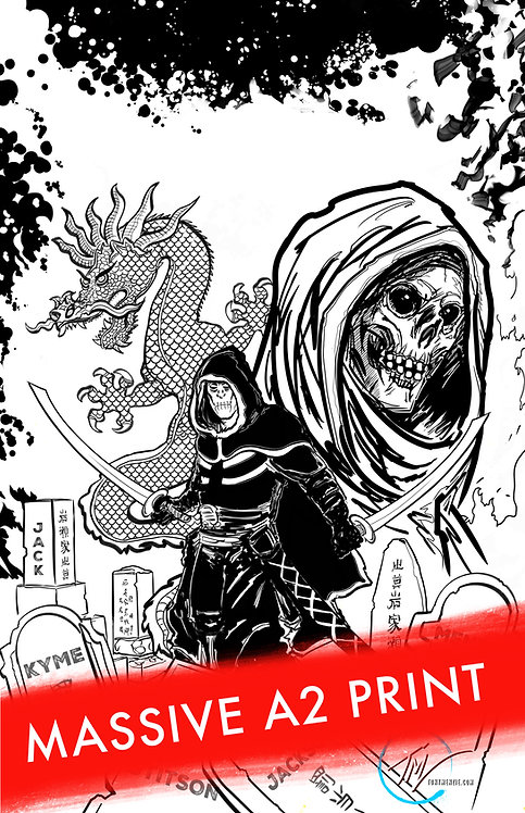 The Wrath of the Cursed -- Red Sun B&W -- LIMITED EDITION MASSIVE A2 ART PRINT