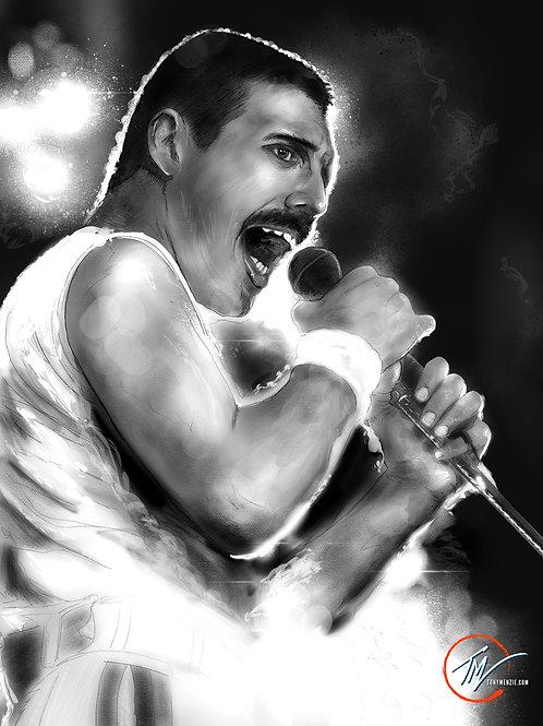 Freddie Mercury - B&W -- A3 ART PRINT