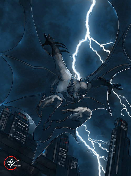 Dark Knight - Stormy Night -- A3 ART PRINT