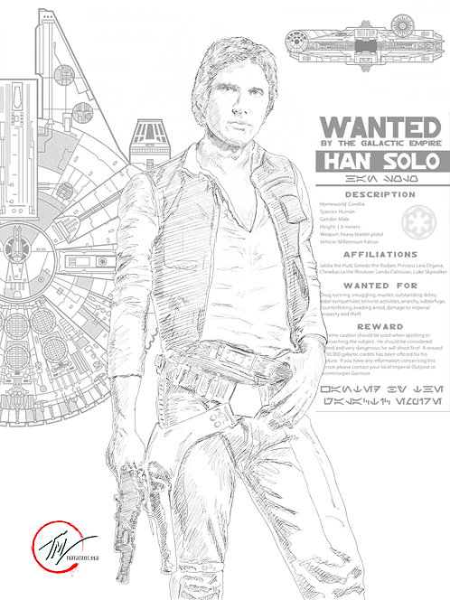 Han Solo - WANTED -- A3 ART PRINT