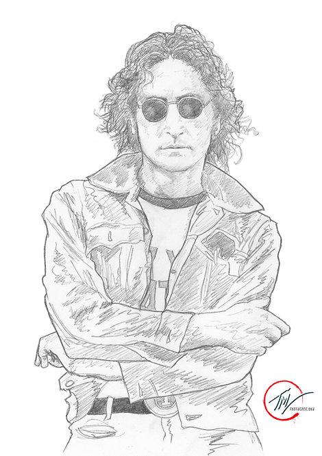 John Lennon - Sketch B&W -- A3 ART PRINT