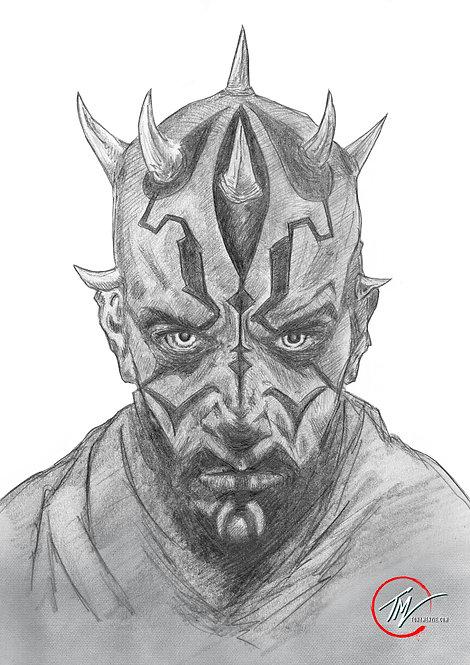 Darth Maul - Sketch B&W -- A3 ART PRINT
