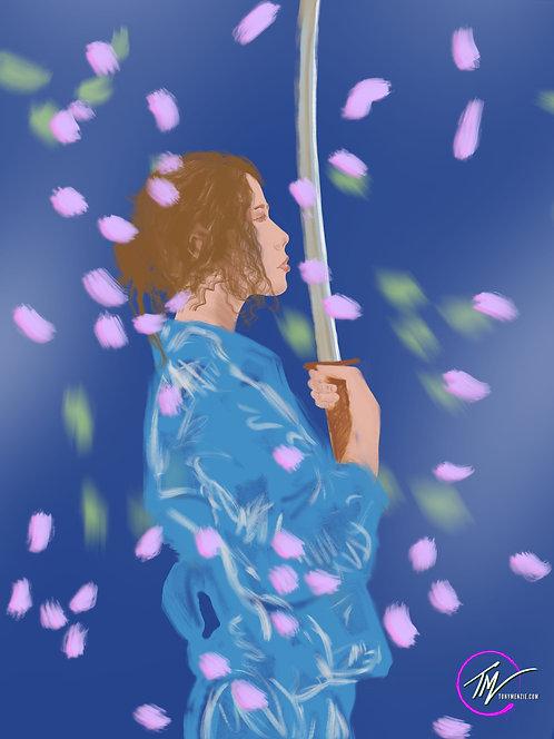 Fallen - Onna-bugeisha BLUE  A3 ART PRINT