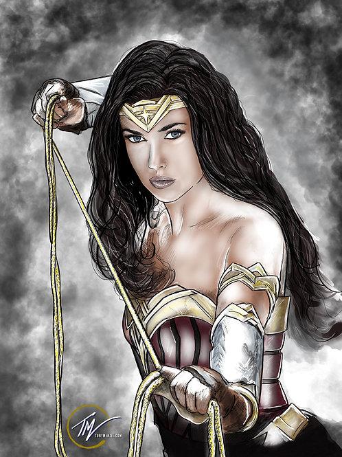 Wonder Woman - Colour -- A3 ART PRINT