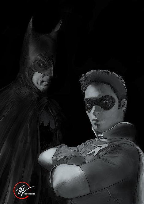 Batman and Robin - Black and White --A3 ART PRINT