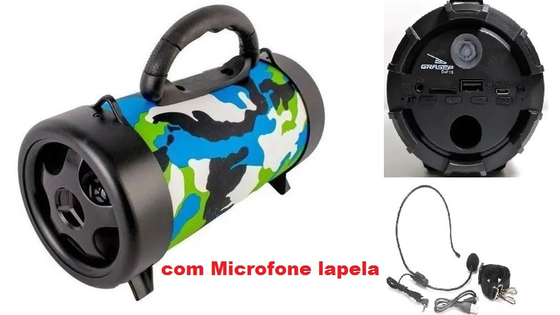 Caixa Som Bluetooth Amplificada Usb Mp3 Radio Fm + Microfone