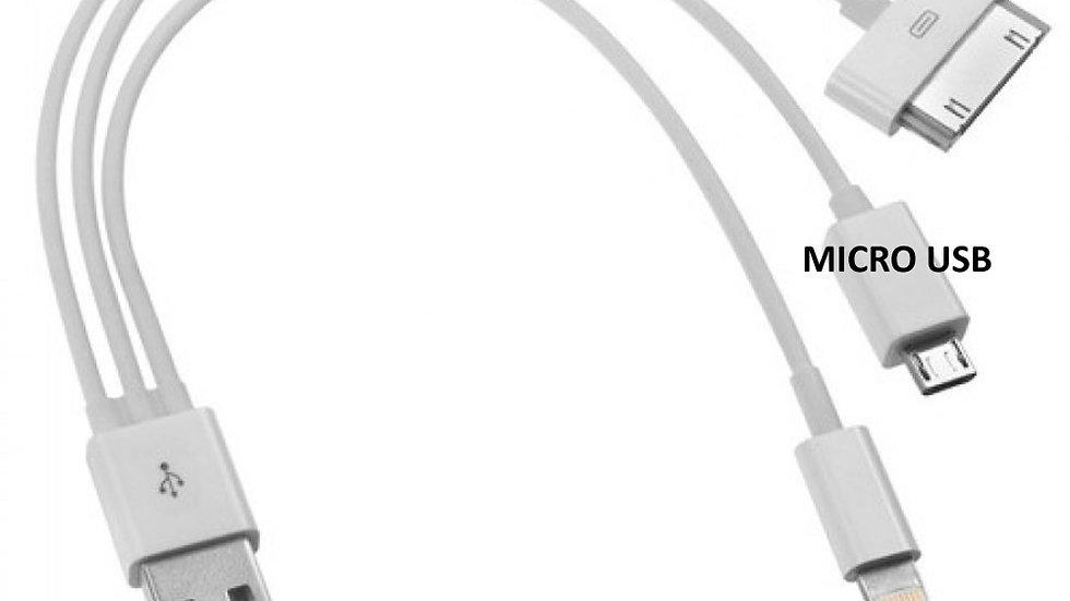 Cabo iPad iPhone 4,5,6 e Micro USB 3 Pontas Carregador