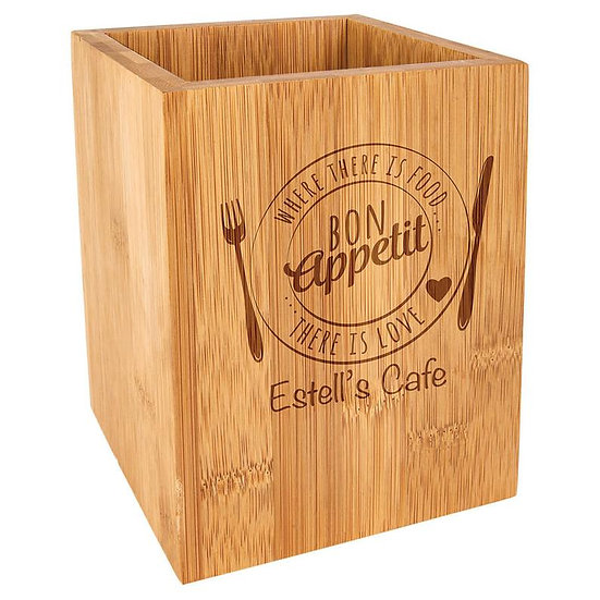 Custom Engraved Bamboo Kitchen Utensil Bin, Custom Engraved Spatula
