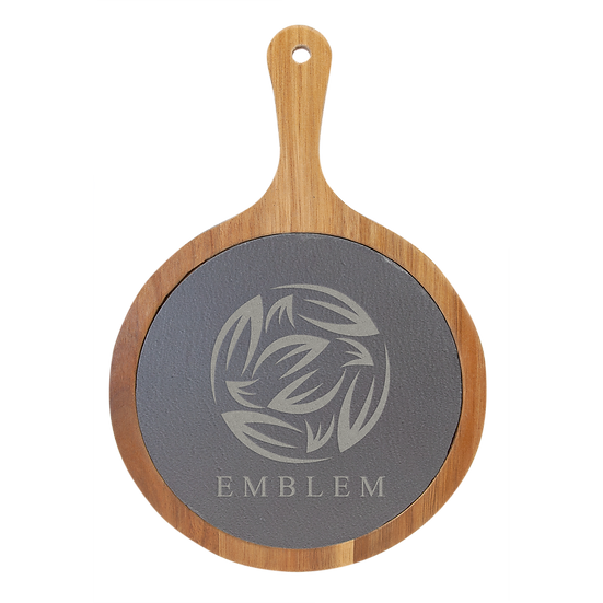 Round Acacia Wood/Slate Cutting & Serving Board, Personalized Engraved Small