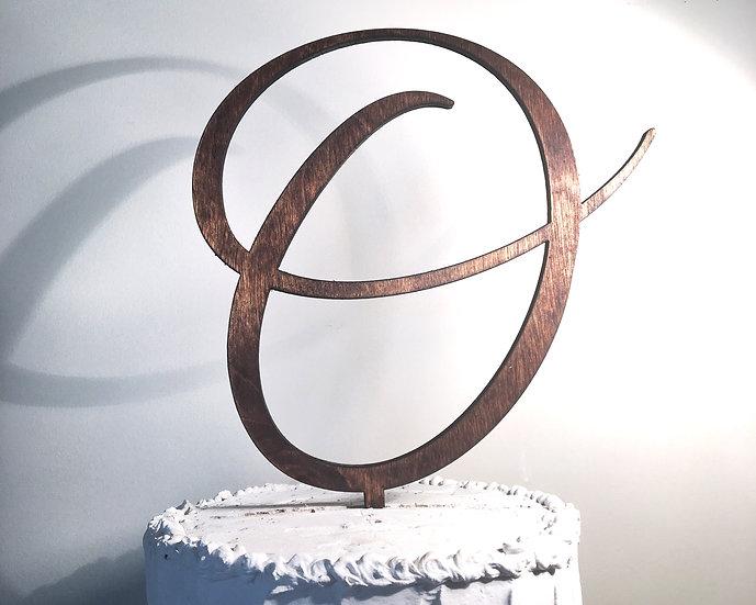 Letter O Wooden Wedding Cake Topper